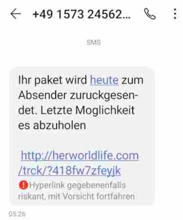 Spam-Welle – Gefälschte SMS-Paketbenachrichtigungslinks im Umlauf